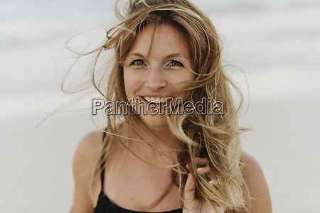 close up of happy woman with