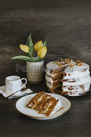 homemade carrot cake coffee and tulips