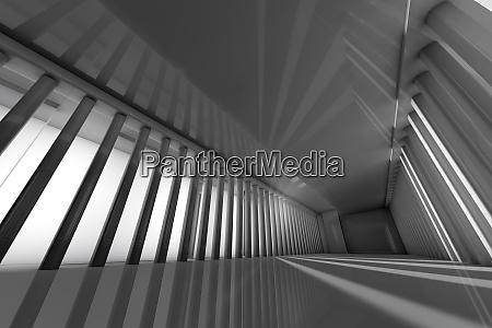 three dimensional render of spacious corridor