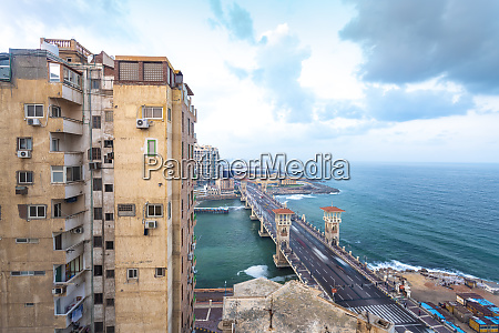 egypt alexandria stanley bridge with apartment