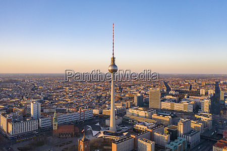 germany berlin aerial view of fernsehturm
