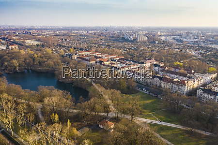 germany berlin aerial view of pond