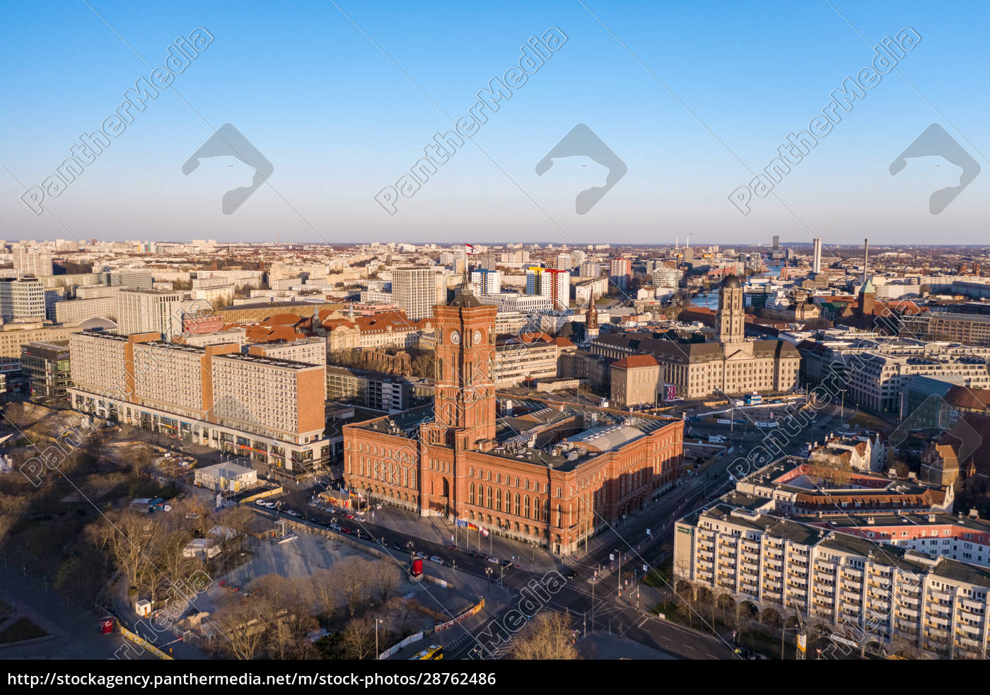 germany, , berlin, , aerial, view, of rotes rathaus at, dusk - 28762486