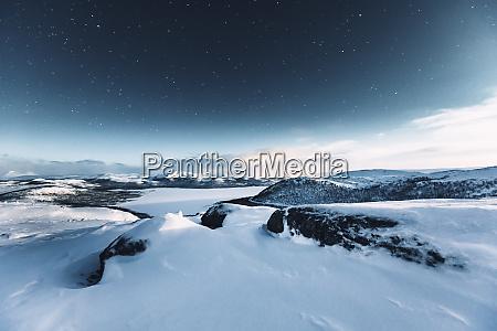 starry sky at polar night kilpisjaervi