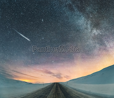 starry sky with northern lights and
