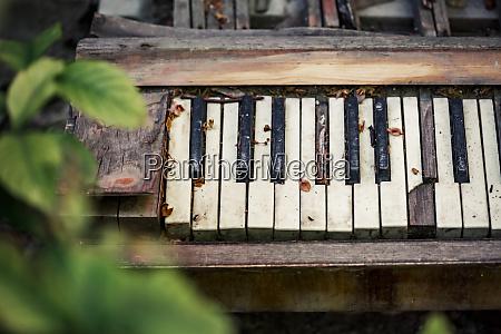old broken piano in backyard