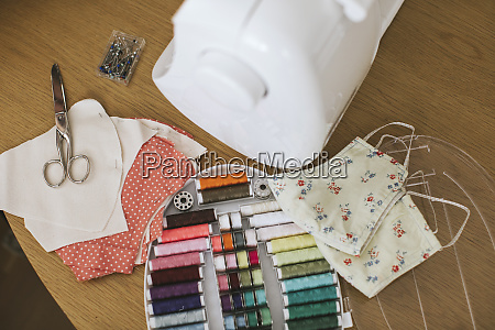 sewing items with floral protective masks