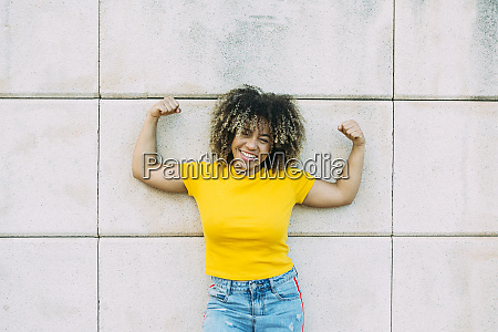 portrait of smiling strong woman on