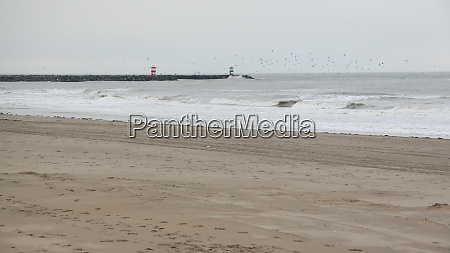 empty scheveningen beach in winter the