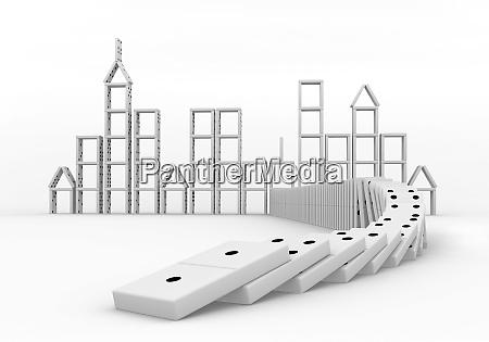 domino effect crisis concept 3d render