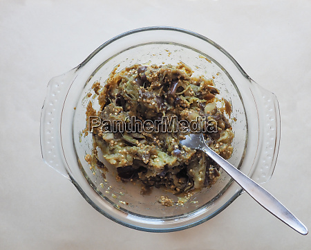 traditional greek melitzanosalata meaning aubergine salad