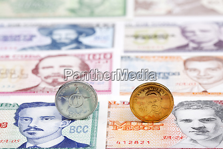 cuban coins on a background of