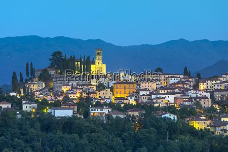 barga at dusk tuscany italy europe