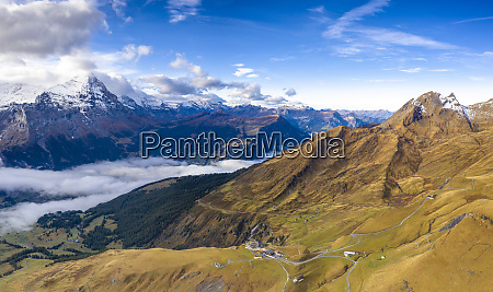 aerial panoramic of eiger and sea