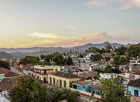 townscape at sunset elevated view trinidad
