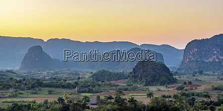 vinales valley at sunset elevated view