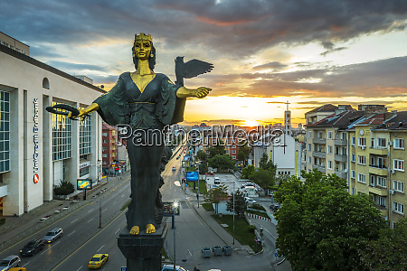 st sofia statue taken by drone