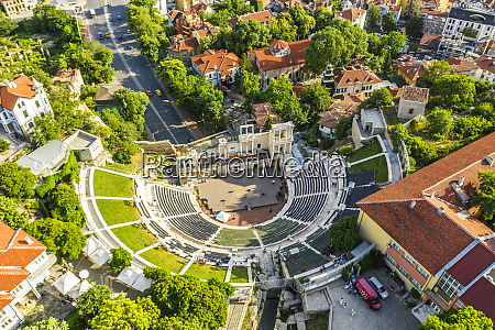 aerial view by drone of roman