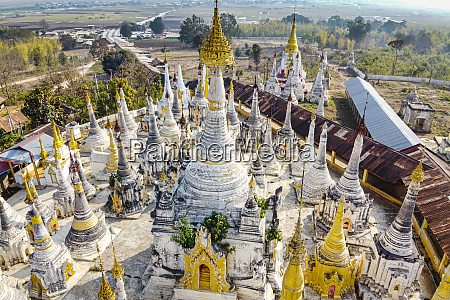 aerial view by drone of pagodas