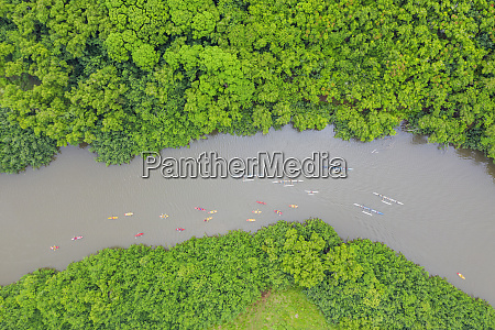 drone view of kayakers on wailua