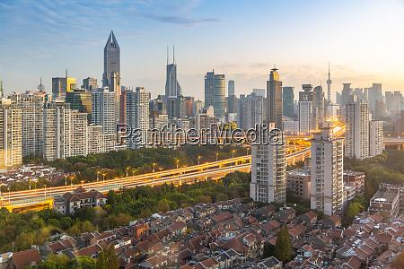 view of shanghai skyline at sunrise