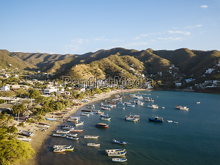 aerial by drone of taganga magdalena