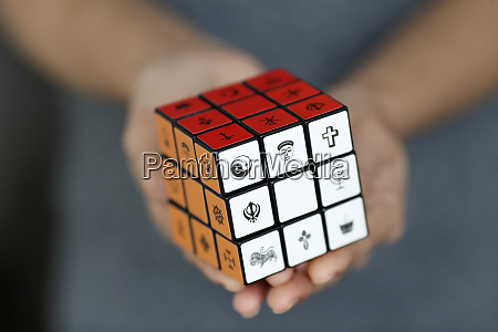 woman with a rubiks cube with