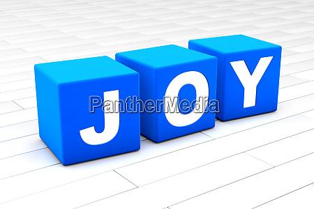 3d illustration of the word joy