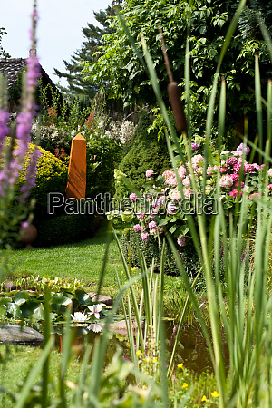 garden pond with decoration and plants