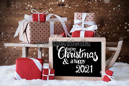 sleigh gift snow snowflakes merry christmas