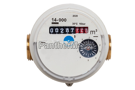 water meter isolated closeup of a