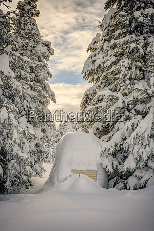 deep snow covers an aluminum camp