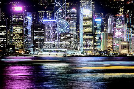 night view of hong kong and