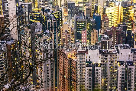 crammed, hong, kong, apartment, blocks, at - 28784791