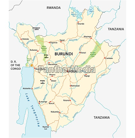 vector road map of burundi with