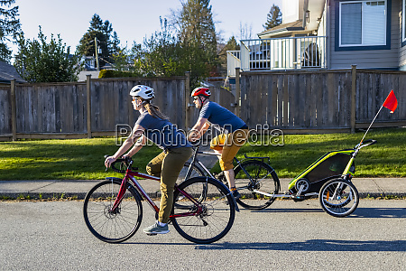 family biking together during covid 19
