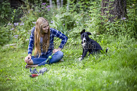 girl with her dog in a