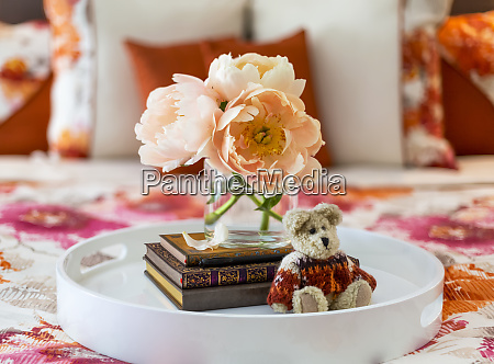 bouquet of peach colored peonies books