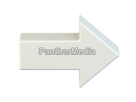 simple white right arrow icon 3d