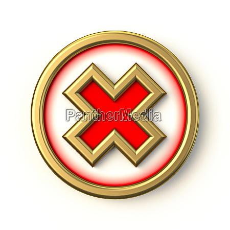 golden red circle check mark 3d