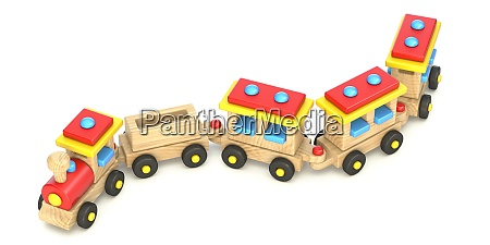wooden train toy 3d