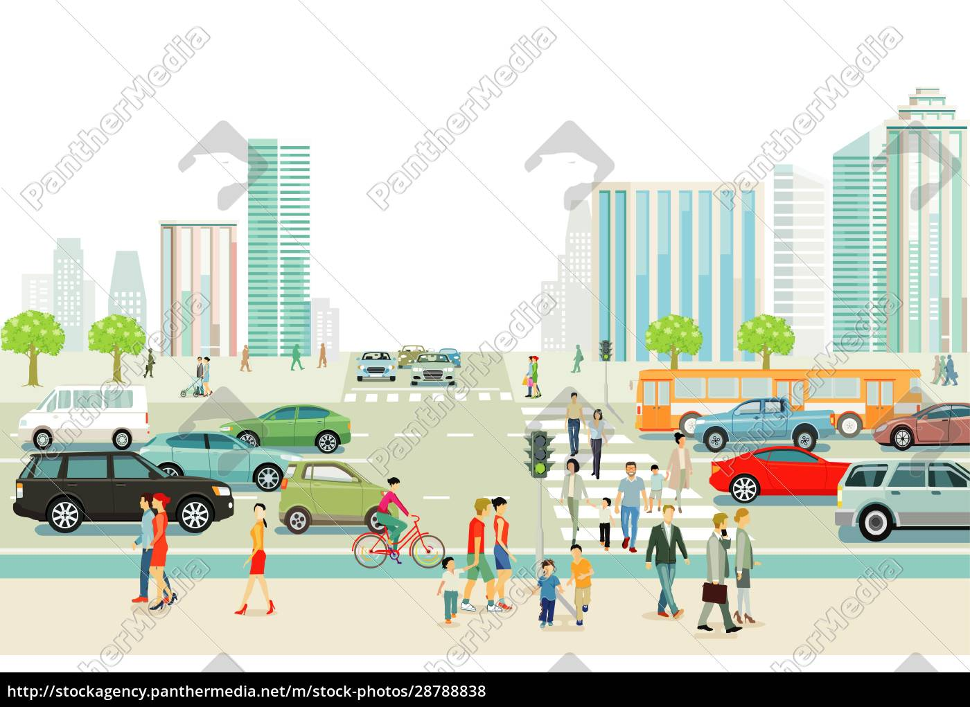 big, city, with, traffic, , pedestrians, and - 28788838