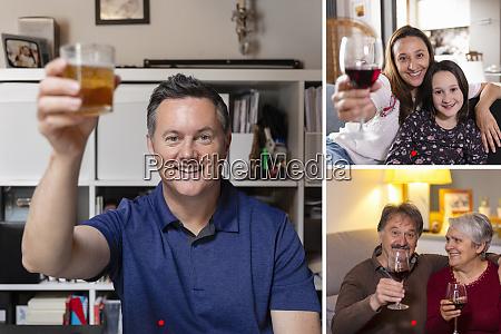 family having online birthday celebration during