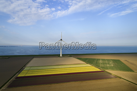 view of fields and wind turbines