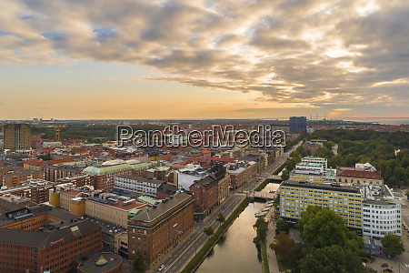 aerial picture of malmo with the
