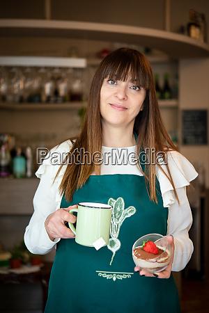 a woman waitress in a vegan