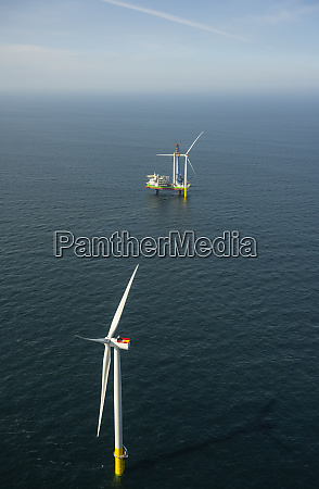 aerial view of wind farm being