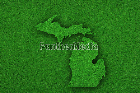 map of michigan on green felt