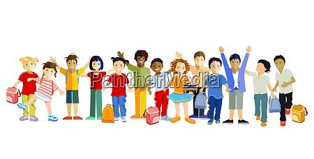 schoolchildren happily together vector illustration