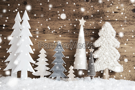 christmas trees snow rustic brown wooden
